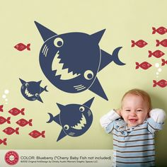 Happy Shark Family Decals Ocean Wall Stickers by graphicspaces. $25.00 USD, via Etsy.