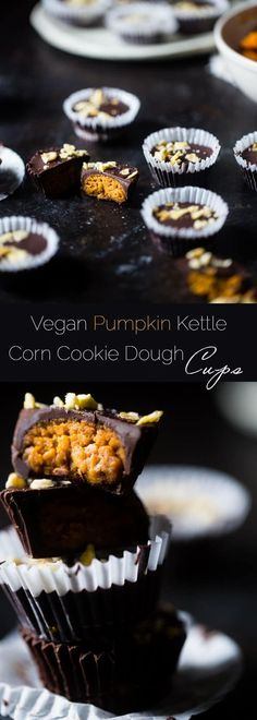 Vegan Pumpkin Kettle Corn Cookie Dough Cups - Stuffed with gluten free pumpkin edible cookie dough and topped with salty-sweet kettle corn! They're a quick and easy dessert that are only 95 calories and 3 SmartPoints! | Foodfaithfitness.com | @FoodFaithFit