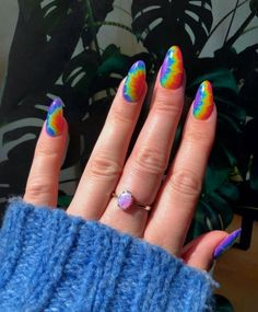 Diseños Tie Dye para tus uñas Diseños Tie Dye para tus uñas Simple Acrylic Nails, Cute Acrylic Nail Designs, Summer Acrylic Nails, Best Acrylic Nails, Simple Nails, Edgy Nails, Grunge Nails, Funky Nails, Minimalist Nails