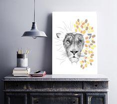 INSTANT DOWNLOAD Fingerprint Lion head /decoration wedding Presentation Pictures, Fingerprint Art, Ink Color, Best Memories, Creative Gifts, Animal Drawings, Lion, Wedding Decorations, Birthday Parties