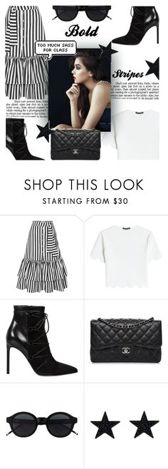 """""""Bold stripes"""" by fashionpagee ❤ liked on Polyvore featuring Caroline Constas, Alexander McQueen, Yves Saint Laurent, Chanel, contest, skirt, shirt, contestentry and BoldStripes"""
