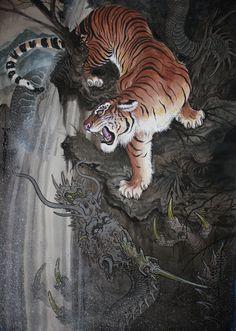"""Asian Painting by Tim Lehi& Chinese Demon, Chinese Art, Chinese Tiger, Japanese Tiger Tattoo, Tiger Dragon, Tiger Painting, Tiger Art, Asian Artwork, Samurai Art"
