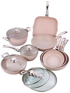 """Battery of 13 pieces pink gold handles with covers """"Stonerose"""" Cute Kitchen, Kitchen Dishes, Kitchen Items, Kitchen Utensils, Kitchen Appliances, Kitchen Dining, Cool Kitchen Gadgets, Cool Kitchens, Rose Gold Kitchen"""