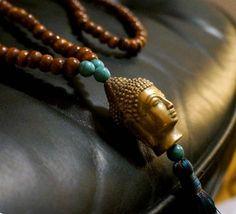 Halskette mit Messing Buddha, Naturtöne Style-Heaven.com - Wohnaccessoires und Geschenke online kaufen