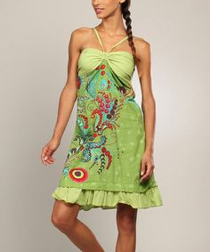 Another great find on #zulily! Green & Red Abstract Ruffle Halter Dress by Aller Simplement #zulilyfinds