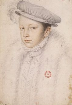Francis II of France, by François Clouet, 1560. Francis found the crown so heavy at his coronation that four nobles had to hold it in place as he walked up the steps to his throne.