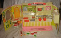 70's Vintage Folding Toy Kitchen Center Play Magnetic Food Miniatures Japan