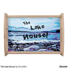 Shop The Lake House! Serving Tray created by FarrellArt. Cheese Trays, Natural Wood Finish, Lake Cabins, Mountain Landscape, Cool Stuff, Frame, Cutting Boards, Fun, House