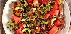 watermelon and biltong salad Biltong, South African Recipes, Ginger Ale, Large Bowl, Serving Platters, Vegetable Pizza, Watermelon, Salads, Menu
