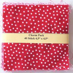 """asc-030a-6010 40 x (4,5"""" x 4,5"""" - ~ 11,43 cm x 11,43 cm) Charm Pack - 40 rot/weisse Basics, 20 verschiedene Stoffe, jeweils zweimal - Stoffzusammenstellung variiert"""