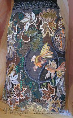 """Купить Юбка """"Рыбки в пруду"""" - комбинированный, абстрактный, ажурная юбка, ирландское вязание, сцепное кружево"""