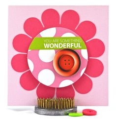 This flower birthday card has a fun interactive element. The round, polka dot section in the center of the flower, lifts to reveal the perfect spot to write a special message to the recipient, add their age or a monogram. #thecardkiosk