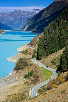 Road along 'Gepatsch' Dam in Kaunertal Valley, Austria