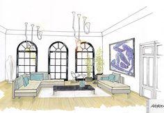 Perspective salon/ Canapé Ligne Roset /Décoration Intérieur AtelierA Montélimar