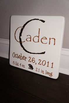 For Hartlee-Custom Personalized Baby Birth Announcement Wooden Sign. $26.00, via Etsy.