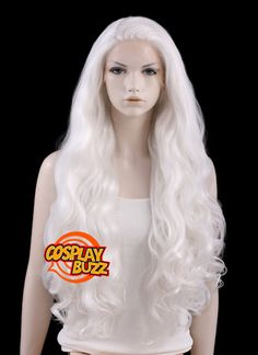 """28"""" Long Curly White Customizable Lace Front Synthetic Hair Wig LF686C - Possible Wig For Daenerys Cosplay"""