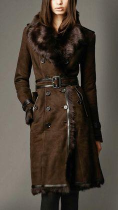 Long Shearling Trench Coat