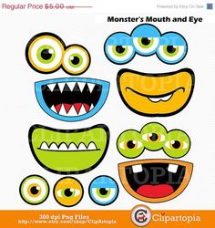 50% OFF SALE Monsters Mouth and Eyes Digital Clipart / Little Monster Party Decorations / Monsters Photobooth  props/ Instant download