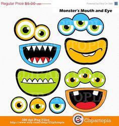 50 % OFF SALE Monster Mund und Augen Digital von ClipArtopia