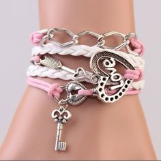 Leather Silver Love  Charm Bracelet Leather Silver Love  Heart Pink Charm Bracelet Jewelry Bracelets