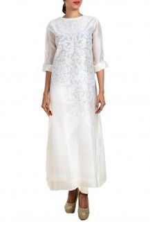 White Embroidered Cotton Silk Kurta By Samant Chauhan  Rs. 12,000