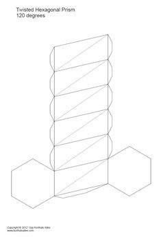 paper models of twisted hexagonal prisms Cardboard Furniture, Art Furniture, Prisma Hexagonal, 3d Geometric Shapes, Mummy Crafts, Hexagon Box, Concrete Crafts, Paper Folding, Paper Models