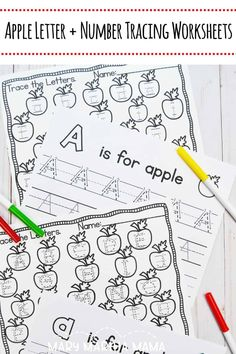 Help your kiddos practice their letter formation with these printable apple themed handwriting worksheets with and without arrows.