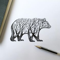 New Pen & Ink Depictions of Trees Sprouting into Animals by Alfred Basha - Italian illustrator Alfred Basha (previously) continues his ongoing project of fusing animal forms - Penguin Sketch, Penguin Art, Bear Sketch, Bird Drawings, Animal Drawings, Pencil Drawings, Drawings Of Trees, Alfred Basha, Illustrator