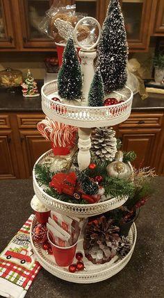 Christmas Tiered Tray Idea Christmas Christmas, Xmas, Christmas Table Decorations, Snow Globes, Kitchen Decor, Diy, Home Decor, Build Your Own, Homemade Home Decor