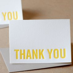 Thank You Cards Letterpress  Sunshine Yellow Modern by RubyPress, $120.00