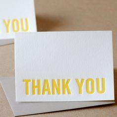 Thank You Cards Letterpress  Sunshine Yellow Modern by RubyPress, $120.00
