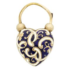 Early Victorian Blue and White Enamel Gold Heart Padlock with Locket. An early Victorian 14K gold heart padlock decorated with white enamel scrolls on a cobalt blue enamel ground, with a hair compartment locket verso. Padlock does open and is in good working condition. Looks lovely worn as a pendant, or used to close a bracelet. Circa 1845.