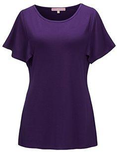 ceb27e6984fcc Regna X Women s Short Sleeve Scoop Neck Plus Size Flowy Tunic Shirts Purple  3XL