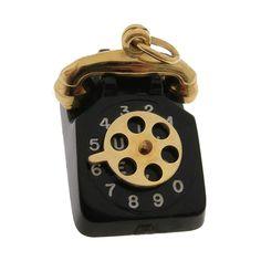 Vintage Lucite Phone 14k Gold Charm