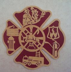 Fire Fighter  Plaque Hand Cut scroll saw art. $44.95, via Etsy.
