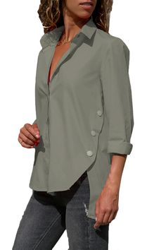New Silindashop Womens Blouses Long Sleeve Solid Color Button Down V Neck Casual Basic Shirts Loose Tops online - Newfashionclo Stylish Shirts, Simple Shirts, Grey Long Sleeve Shirt, Long Sleeve Tops, Casual Tops For Women, Blouses For Women, Ladies Blouses, Top Pas Cher, Fishnet Shirt