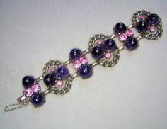 Very RARE Schiaparelli Purple Speckled Cab Pink Rhinestone Parure | eBay