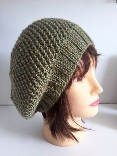 Green Wool Hat, Ladies Olive Green Beret, Knitted Tweed Beanie, Womens Hat, Handknit Tam, Winter Gifts, Bestfriend Gift Hat, by JCLeecollection on Etsy