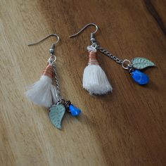 Copper wrapped tassel earrings with teal stones by RamblingWhimsy