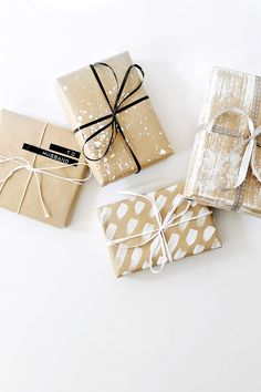 Get in the holiday spirit! As you're buying gifts, add a personal touch with Unique 50 Christmas gift wrapping ideas! Upcycled Kraft Paper Gift Wrapping Ideas From: The Found and The Fancy How to P… Diy Holiday Gifts, Diy Gifts, Handmade Gifts, Creative Gift Wrapping, Creative Gifts, Diy Wrapping, Simple Gift Wrapping Ideas, Gift Wrapping Ideas For Birthdays, Birthday Wrapping Ideas