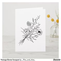 Shop Vintage flower bouquet card created by _This_and_that_. Flowers Tatto, Dainty Flower Tattoos, Flower Bouquet Drawing, Flower Tattoo On Ribs, Small Flower Bouquet, Daffodil Tattoo, Birth Flower Tattoos, Poppies Tattoo, Wildflower Tattoo
