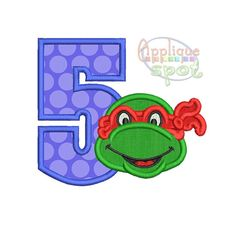 Ninja Turtle Fifth 5th Birthday 5 - 4x4 5x7 6x10 Applique Design Embroidery Machine -Instant Download File