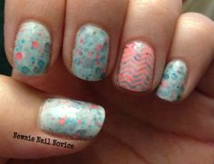 Chevron stamp over KBShimmer Make My Gray, stamping polish- China Glaze Flip Flop Fantasy