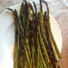 Grilled Asparagus! Rub with olive oil, sprinkle with sea salt and course black pepper. Grill 4-6 minutes on medium heat.