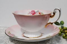 Royal Albert Tea Cup and Saucer Pink and White by PinkDahliaStudio
