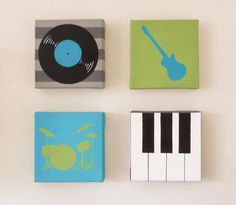 Music instrument set of four canvas paintings by TessAndTigerlily