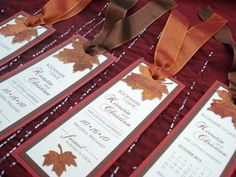 fall leaf pocket wedding invitations | LEAF IT UP TO ME Wedding Save the Date Bookmarks by envymarketing