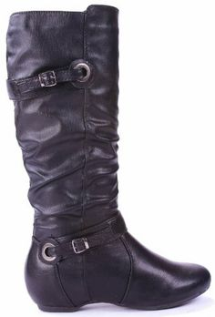 AmazonSmile: JJF Shoes NC25 Leather Slouchy Flat Knee High Belt Buckle Hidden Wedge Motorcycle Riding Boots: Shoes
