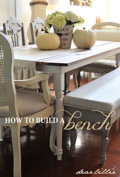 Bench tutorial. I've never been able to find a bench in the length I need for my farmhouse table, so this is AWESOME. I can build a bench and sew a skirted slipcover for it!