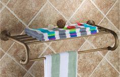 63.07$  Buy now - http://aliyur.worldwells.pw/go.php?t=32612562028 - 2016 fashion High quality wall mount Europe style total brass Bathroom towel rack hotel towel rack towel shelves 63.07$